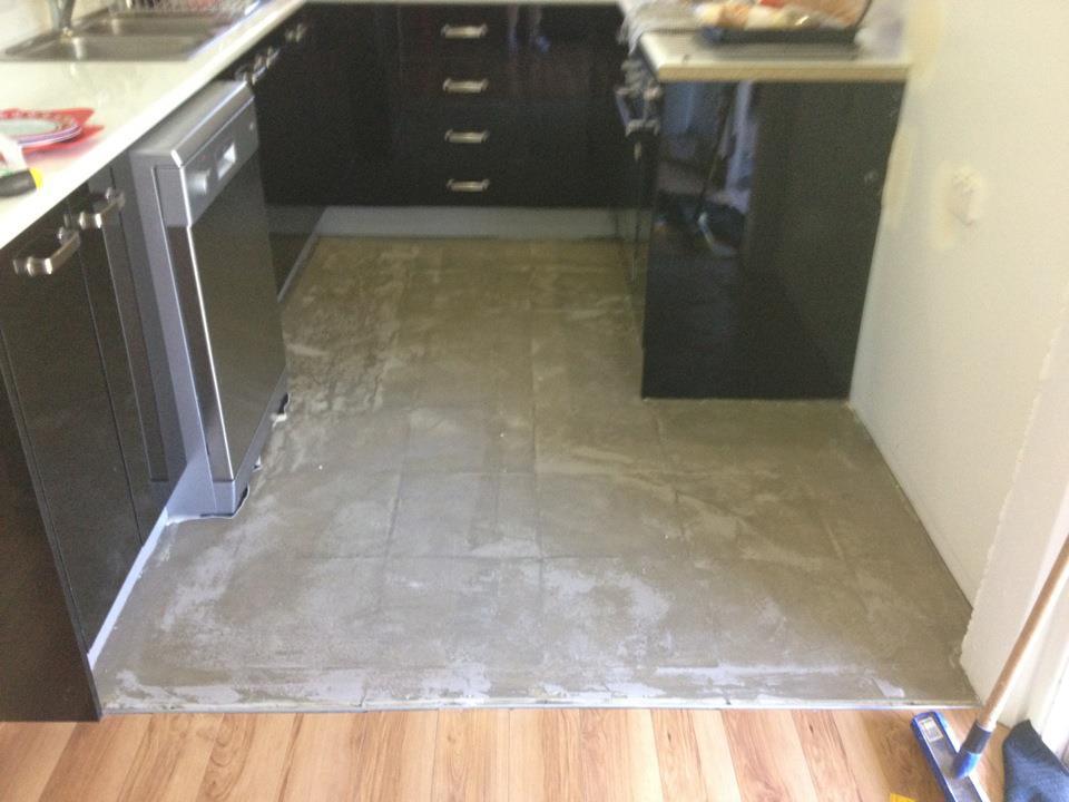 Black and white check tiles for Black lino kitchen flooring