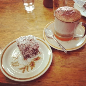 birthday breakfast 1 - home made lamington and mocha @ Thread and Seed