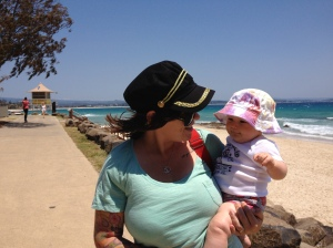 Mummy and quin checking out the beach