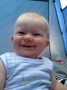 the face of a cutie head waking up in a tent for the first time!