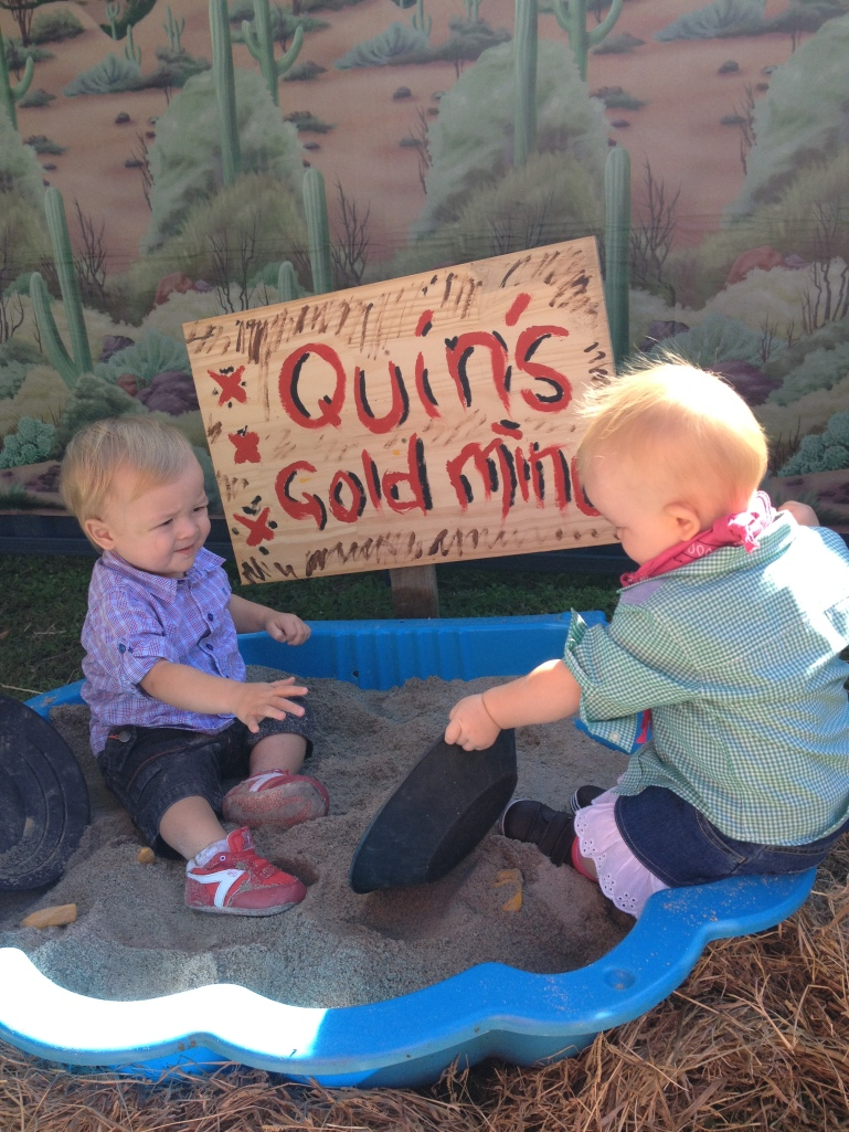 Quin playing in the gold mine with little Huxley