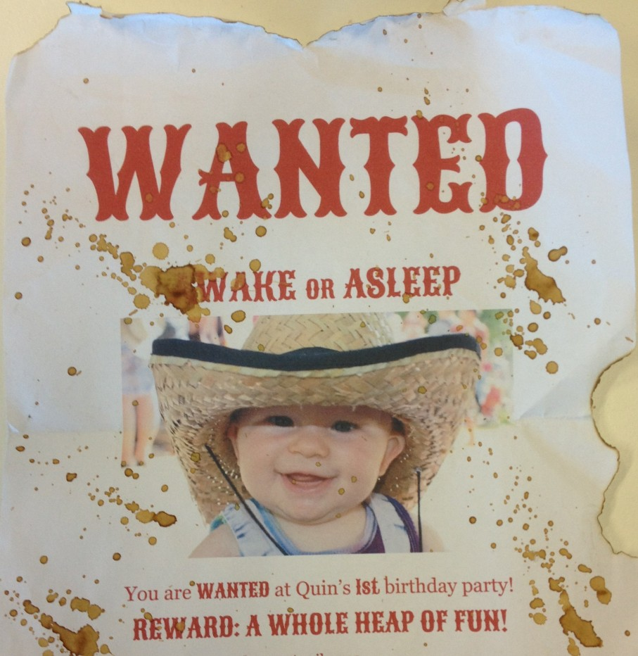 wild west cowboy wanted birthday invitation